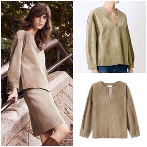 NWT Tory Burch Leather Suede Peasant Blouse